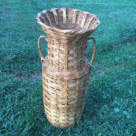 Vintage Other - Vintage Boho Wicker Rattan Woven Floor Basket Vase